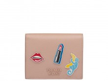 Prada/普拉达 1MC025 猴子和唇部图案 粉色小号Saffiano钱夹