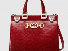 Gucci/古驰 569712 樱桃红 Zumi系列 蛇皮小号手提包