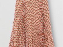Burberry 80165201 朱红 专属标识印花雪纺褶饰半裙