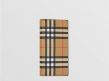 Burberry 40747041 古典黄色/黑色 Vintage格纹拼皮革 长款钱夹