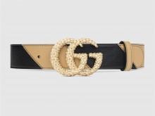 Gucci 582348 0OLNG 1068 黑色/米色 饰织纹双G搭扣腰带