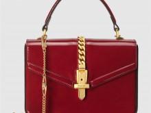 Gucci 589479 1J70G 6638 红色漆皮 Sylvie 1969系列 迷你手提包