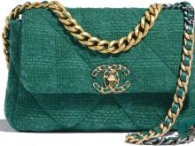 Chanel AS1160 B01646 BE325 绿色 羊毛斜纹软呢 19口盖包