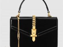 Gucci 589479 1J70G 1000 黑色漆皮 Sylvie 1969系列 迷你手提包