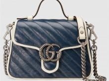 Gucci古驰 5583571 0OLFN 4186 蓝色 GG Marmont系列迷你手提包