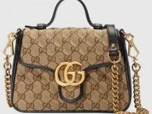 Gucci古驰 583571 HVKEG 9772 米色/黑色 GG Marmont系列迷你手提包