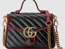 Gucci古驰 583571 0OLFX 8277 黑色 GG Marmont系列迷你手提包