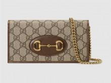Gucci古驰 621892 92TCG 8563 棕色 1955马衔扣 链带钱包