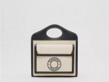 Burberry博柏利 80280581 黑色 迷你徽标图案帆布拼皮革口袋包