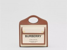 Burberry博柏利 80317461 麦芽棕 迷你双色帆布拼皮革口袋包