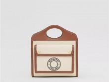 Burberry博柏利 80280621 棕褐色 迷你徽标图案帆布拼皮革扑克包
