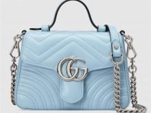 Gucci古驰 547260 DTDIP 4928 淡蓝色 GG Marmont系列迷你手提包