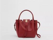 Burberry博柏利 80265951 红色 专属标识图案皮革水桶包