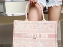 迪奥Dior新款粉色老虎刺绣Book tote