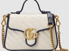 Gucci古驰 583571 白蓝 GG Marmont系列迷你手提包