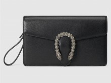 Gucci古驰 621197 黑色 Dionysus系列皮革手拿包