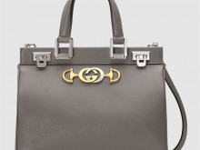 Gucci古驰 569712 土灰色 Zumi系列粒面皮革小号手提包