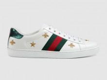 Gucci 386750 白色 Ace系列 男士刺绣运动鞋