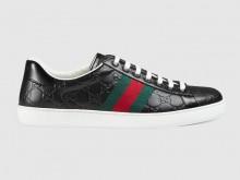 Gucci 386750 黑色 Ace系列 Gucci Signature 男士皮革运动鞋