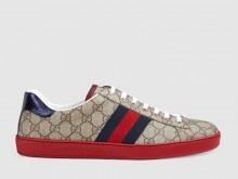 Gucci 429445 米色/乌木色 Ace系列 高级人造帆布 男士运动鞋