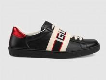 Gucci 523469 黑色 Ace系列 Gucci条纹 男士运动鞋