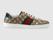 Gucci 548950 米色/乌木色 Ace系列 蜜蜂图案高级人造帆布 男士运动鞋