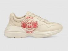 Gucci 630607 象牙白色 Rhyton系列 Gucci印花 男士皮革运动鞋