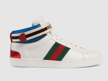 Gucci 523472 白色 Ace系列 Gucci条纹 男士高帮运动鞋