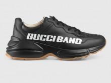 "Gucci 599145 黑色 Rhyton系列 饰""Gucci Band"" 男士运动鞋"