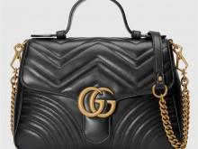 Gucci古驰 498110 黑色 GG Marmont系列小号手提包