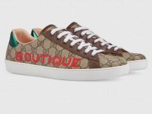 Gucci 623236 米色/乌木色 Ace系列 饰Boutique印花GG 男士运动鞋