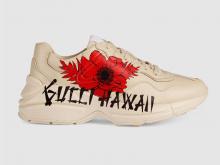 Gucci 631708 象牙白色 Rhyton系列 Gucci Hawaii印花 女士运动鞋