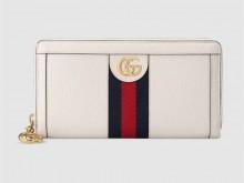 Gucci古驰 523154 白色皮革 Ophidia系列全拉链钱包