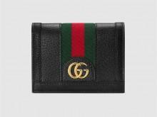 Gucci古驰 523155 黑色皮革 Ophidia系列卡包