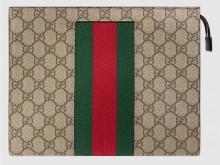 Gucci古驰 475316 饰条纹织带高级人造帆布手拿包