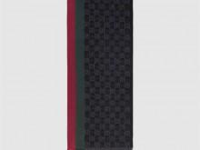 Gucci古驰 147351 饰条纹织带GG 提花羊毛围巾