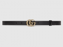 Gucci 476342 AP0WT 8681 黑色 珍珠双G带扣皮革腰带