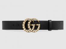 Gucci 453260 DLX1T 9094 黑色 珍珠双G带扣皮革腰带