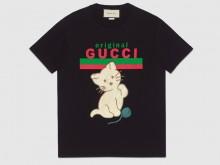 Gucci 615044 XJCRG 1082 饰猫咪贴饰Original Gucci 超大造型T恤