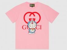 Gucci 615044 XJDIB 5904 淡粉色 Doraemon x Gucci联名系列 棉质T恤