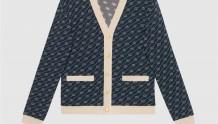 Gucci 660290 XKBWA 4492 互扣式双G斜条纹棉质真丝开衫