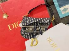 Dior马鞍包蓝色刺绣Oblique印花